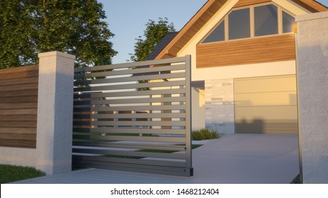 automatic sliding gate house 3d 260nw 1468212404 - 18+ Small House Main Gate Design 2020 With Price Pictures
