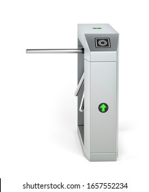 Automatic turnstile on white background, 3D illustration