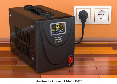 Automatic voltage stabilizer on the wooden floor connected to outlet. 3D rendering