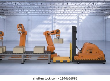 Automatic warehouse concept with 3d rendering robot arm with forklift truck and conveyor belt
