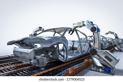 Automatisierungs-Automatikwerkskonzept mit 3D-Rendering-Robotermontage in der Automobilfabrik