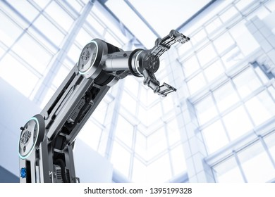 Automation factory concept with 3d rendering robotic arm in factory