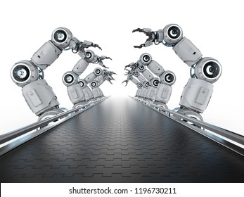 Automation industry concept with 3d rendering robot assembly line in  factory