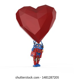 Automation matchmaker concept with 3d rendering robot hold red heart
