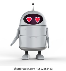 Automation matchmaker concept with 3d rendering android robot or artificial intelligence robot with cartoon character in love