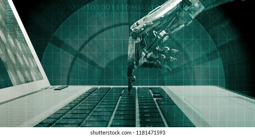 Automation Technology Concept Robot Processing Task on Keyboard 3D Render