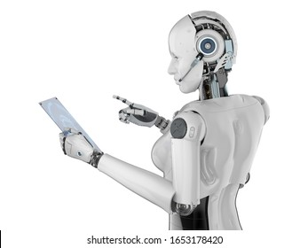 Automation worker concept with 3d rendering female cyborg or robot with glass tablet