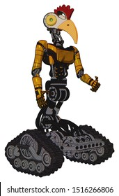 Automaton containing elements: bird skull head, brass steampunk eyes, chicken design, light chest exoshielding, ultralight chest exosuit, tank tracks. Material: Worn construction yellow.