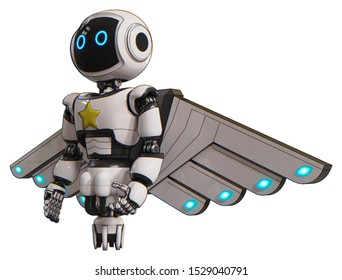 Automaton containing elements: digital display head, circle eyes, light chest exoshielding, yellow star, cherub wings design, jet propulsion. Material: White. Situation: Facing right view.