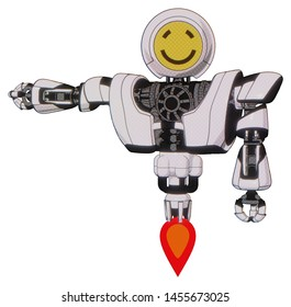 Automaton containing elements: round head yellow happy face, heavy upper chest, heavy mech chest, jet propulsion. Material: White halftone toon. Situation: Arm out holding invisible object..