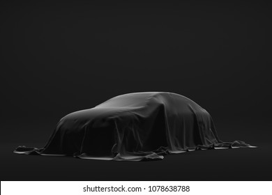 The Automobile is covered dark cloth on a black background. 3d rendering