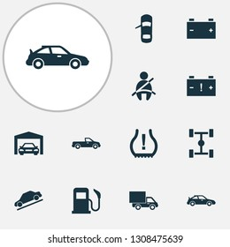 Automobile icons set with seat belt not on, hill descent, van and other carriage elements. Isolated  illustration automobile icons.