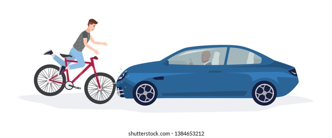 Automobile knocking down boy riding on bike. Head-on road collision with bicyclist involved. Car or traffic accident isolated on white background. Colorful illustration in flat cartoon style.