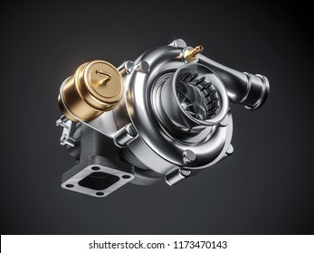 Automobile turbocharger on dark background. 3d render