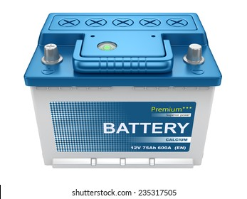 Automotive battery isolated on white background 3d