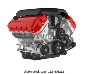 Automotive Car Engine Isolated. 3D rendering