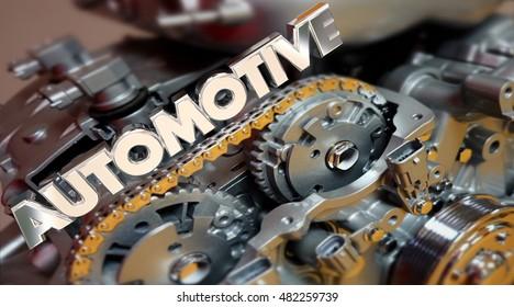 Automotive Engine Powertrain Car Vehicle Automobile 3d Illustration