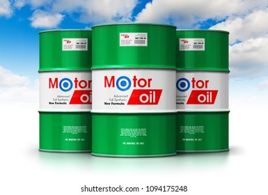 Automotive industry and auto repair service and maintenance concept: 3D render of the group of green stacked metal drum canisters or barrel containers with car motor engine oil lubricant against sky