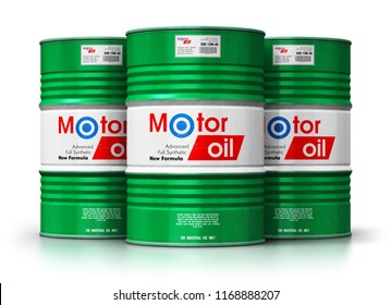 Automotive industry and auto repair service and maintenance concept: 3D render of green metal drum canisters or barrel containers with car motor engine liquid synthetic oil lubricant isolated on white