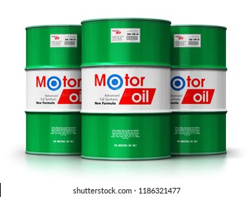 Automotive industry and auto repair service and maintenance concept: 3D render of the group of green metal drum canisters or barrel containers with car motor engine liquid synthetic oil lubricant