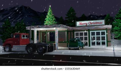 Automotive Repair Christmas Card - Holiday Painting Postcard 6x11