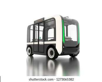 Autonomous bus on white background with reflection on ground 3D illustration