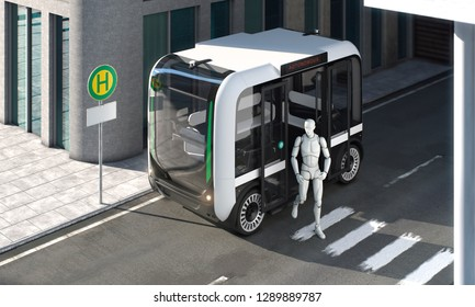 Autonomous bus with passenger exiting on bus stop top down perspective 3d illustration empty placeholder sign