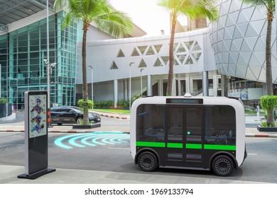 Autonomous bus self driving on road, Smart vehicle technology concept, 3d rendering