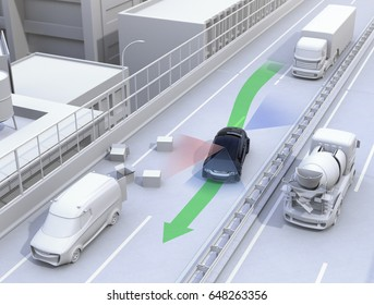 Autonomous car changing lane quickly to avoid a traffic accident. Concept for driver assistance systems. 3D rendering image.