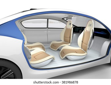Autonomous car's interior concept. The car offer folding steering wheel, rotatable passenger seat. Original design.