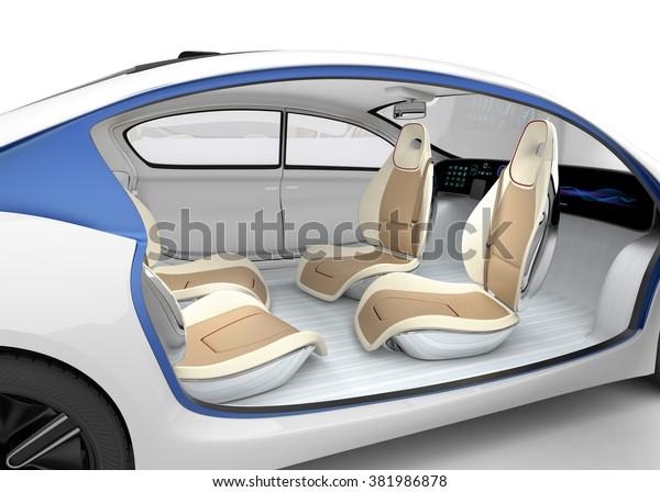 Concetto interno auto autonomo. L'auto offre volante pieghevole, sedile passeggero girevole. Design originale.