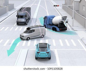 Autonomous cars sharing car's driving information on the road. Concept for connected car. 3D rendering image.