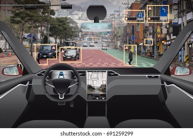 Autonomous driverless car with HUD (Head Up Display). Self-driving vehicle on city street