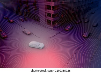 Autonomous driving concept illustration - 3d rendering showing lidar sensor use