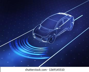 Autonomous driving concept illustration - 3d rendering showing sensor use