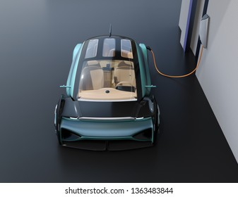 Autonomous electric car charging in charging station. 3D rendering image.