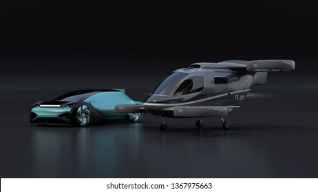 Autonomous electric car and passenger drone parking on black background. MaaS concept. 3D rendering image.