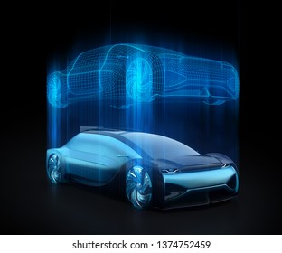 Autonomous electric car and wireframe rendering of the car body on black background. Digital Twin concept.  3D rendering image.