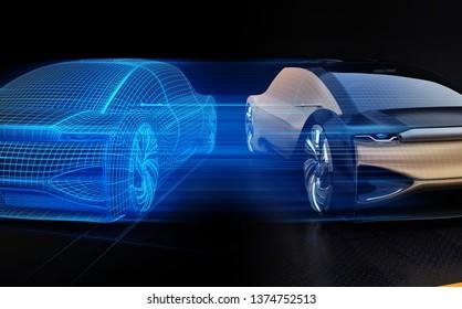 Autonome Elektroautos und Wireframe Rendering der Karosserie auf der rechten Seite. Digital Twin Konzept. 3D-Renderbild.