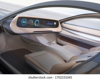 Autonome Elektroautos ohne Lenkung und Pedale auf der Autobahn.  Breiter digitaler Multimedia-Bildschirm und Symbole in generischem Design. 3D-Renderbild.