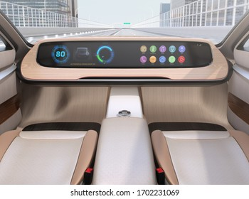 Autonomous electric car without steering and pedals driving on the highway.  Wide digital multimedia screen and icons in generic design. 3D rendering image.