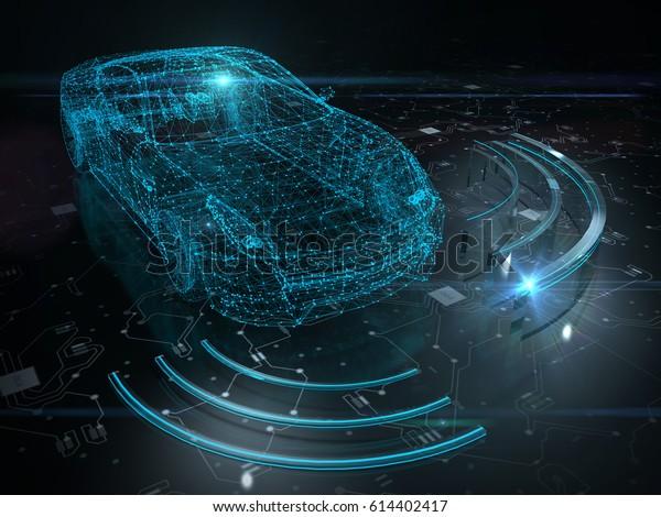 Автономное самоприводное транспортное средство - 3D рендеринг