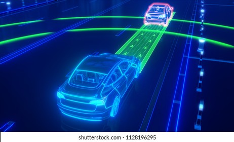 Autonomous self driving electric car change the lane and overtakes city vehicle 3d rendering