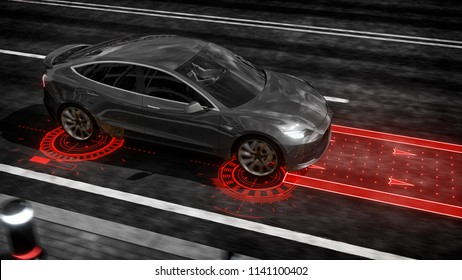 Autonomous self driving electric car rides on the road 3d rendering