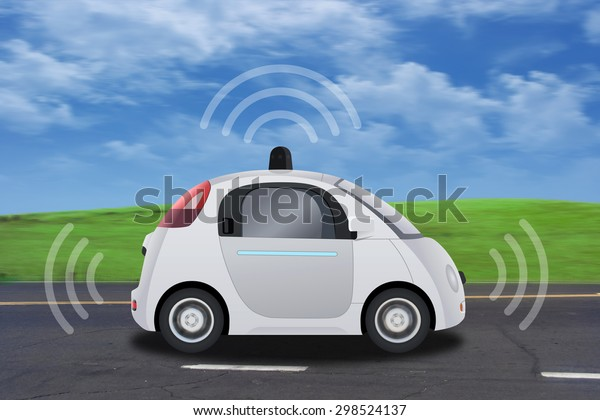 Autonomous self-driving driverless vehicle with radar driving on the road