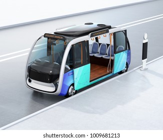 Autonomous shuttle bus waiting at bus station. 3D rendering image.