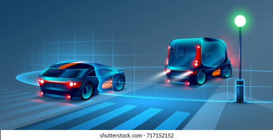 Autonomous smart bus and car rides through the night city. Smart bus scans the road and goes without a driver. Smart bus recognize road signs, lane markings and pedestrians at the crosswalk.