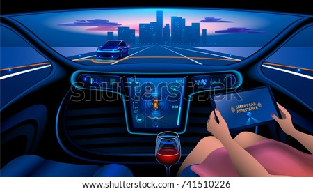 Autonomous Smart Car Interior Woman Rides Stock Illustration