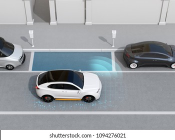 Autonomous SUV is parallel parking into parking lot at roadside. Left-hand traffic scene. Intelligent Parking Assist System concept. 3D rendering image.