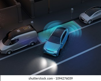 Autonomous SUV is parallel parking into parking lot at roadside. Night scene. Intelligent Parking Assist System concept. 3D rendering image.
